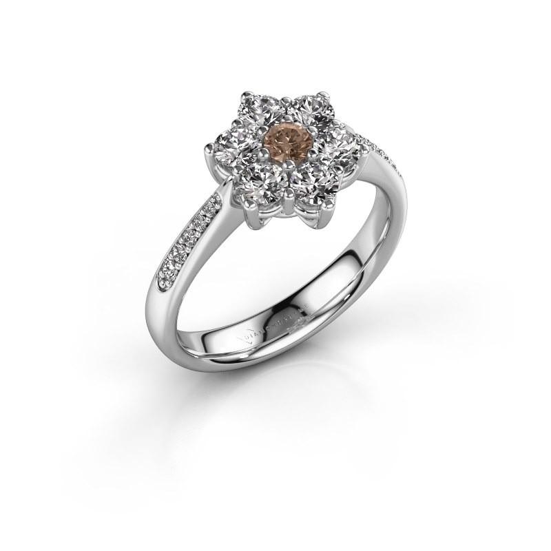 Verlovingsring Chantal 2 950 platina bruine diamant 0.10 crt