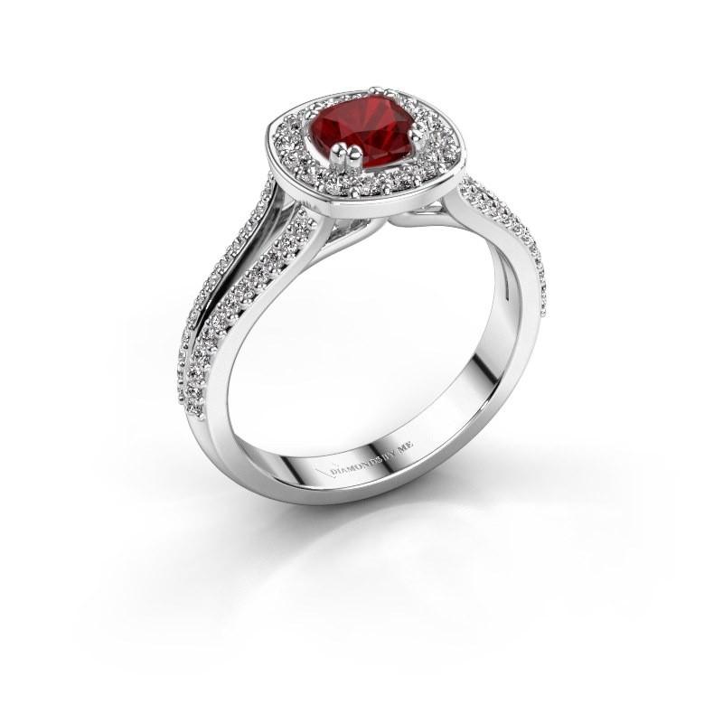 Engagement ring Carolina 2 950 platinum ruby 5 mm