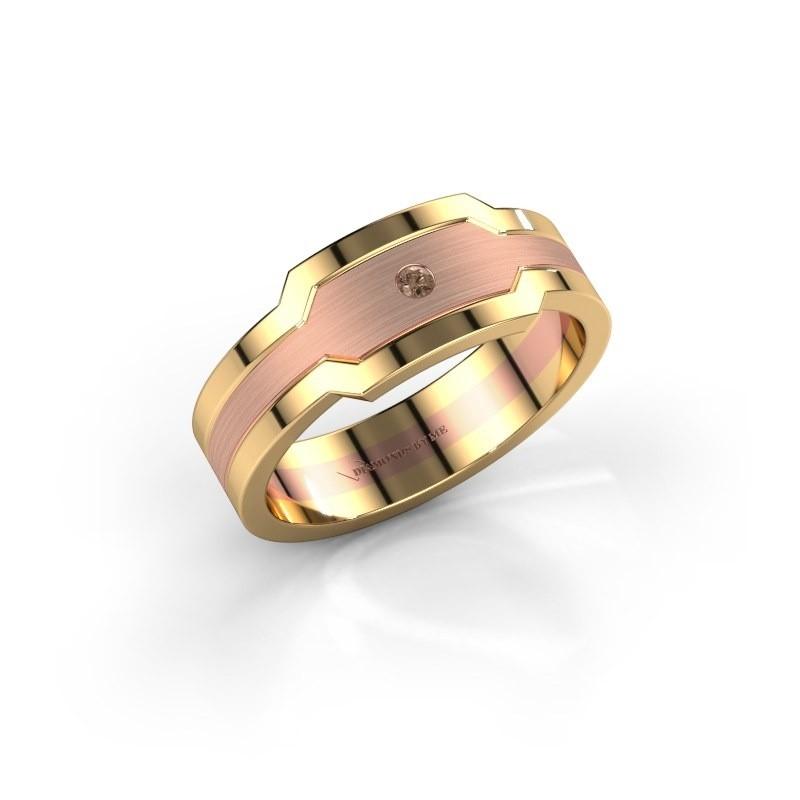 Heren ring Guido 585 rosé goud bruine diamant 0.03 crt