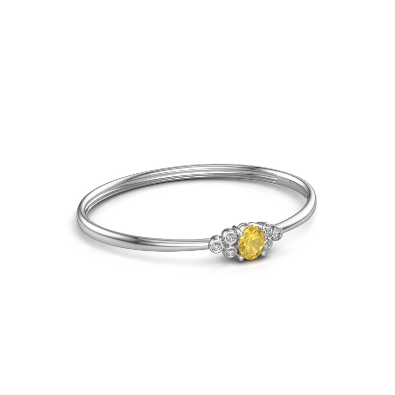 Bangle Lucy 585 white gold yellow sapphire 8x6 mm