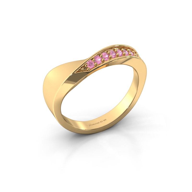Ring Lynn 585 goud roze saffier 1.6 mm