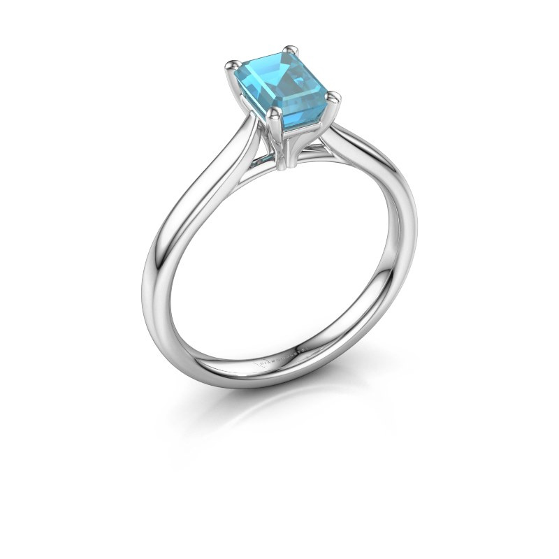 Verlovingsring Mignon eme 1 950 platina blauw topaas 6.5x4.5 mm