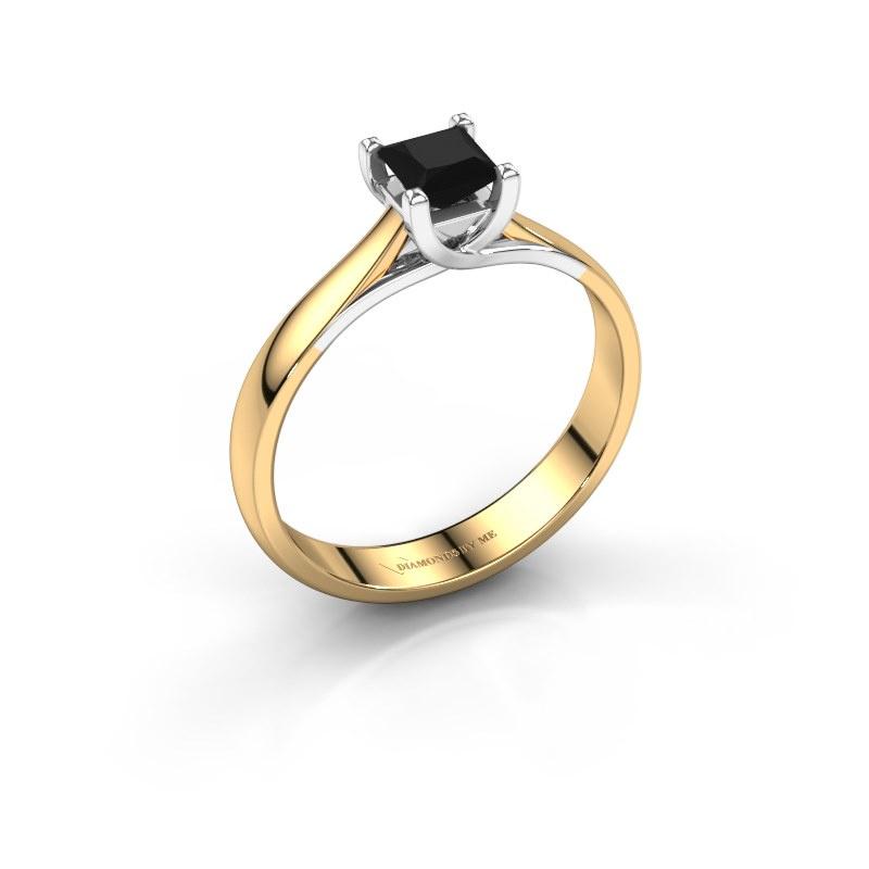 Bague de fiançailles Mia Square 585 or jaune diamant noir 0.48 crt