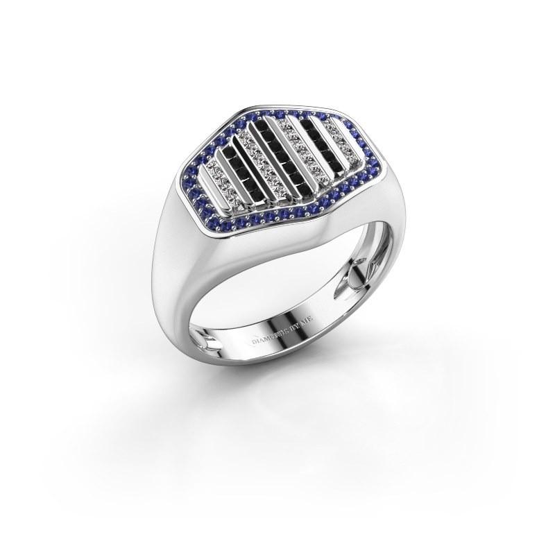 Heren ring Beau 585 witgoud saffier 1 mm