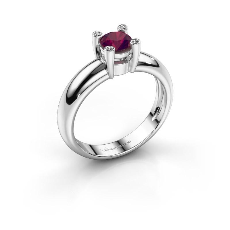 Ring Fleur 585 witgoud rhodoliet 4.7 mm