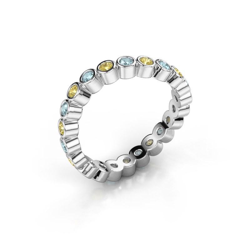Ring Liz 585 witgoud gele saffier 2 mm
