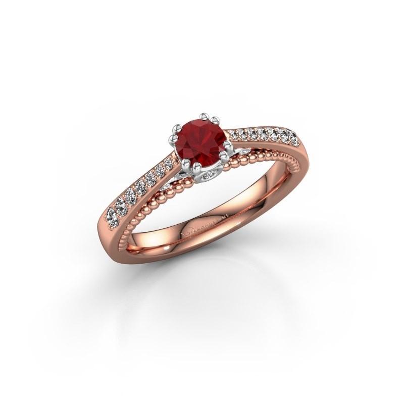 Verlovingsring Rozella 585 rosé goud robijn 4.2 mm