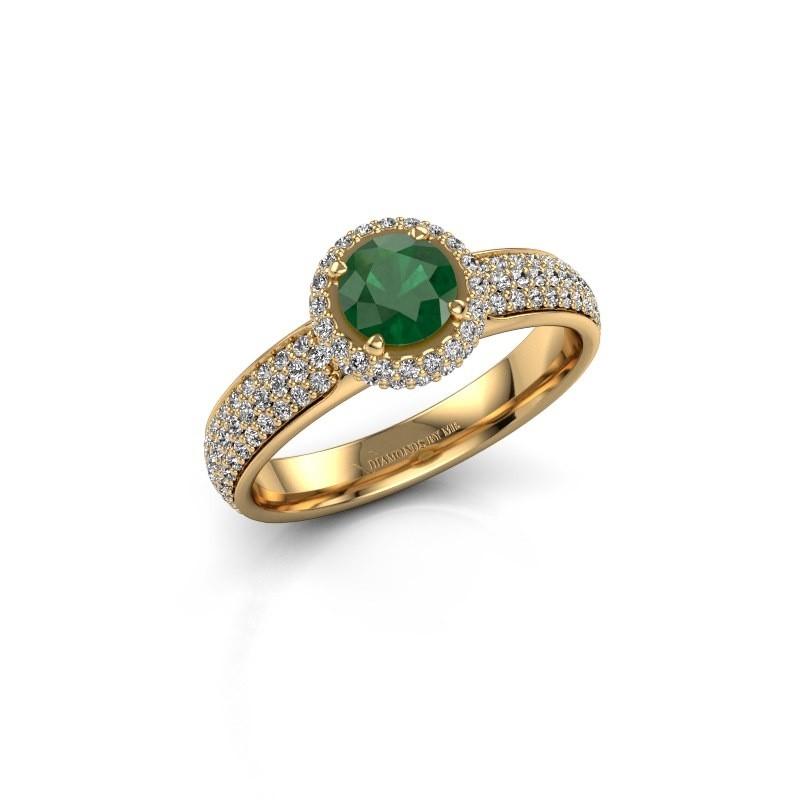 Verlovingsring Mildred 375 goud smaragd 5 mm