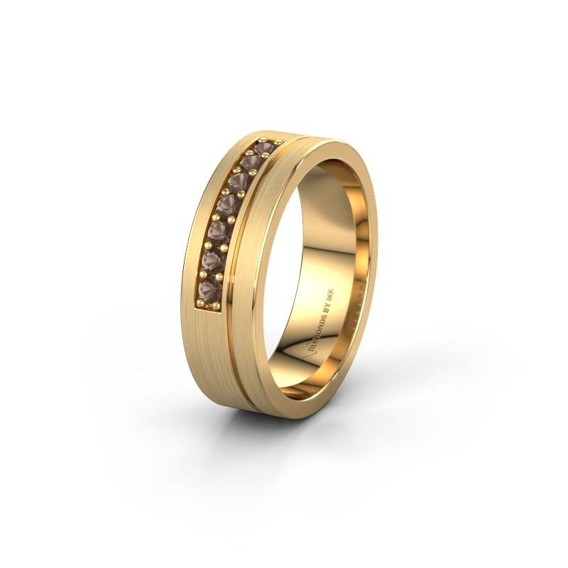 Trouwring WH0312L16AM 585 goud rookkwarts ±6x1.7 mm