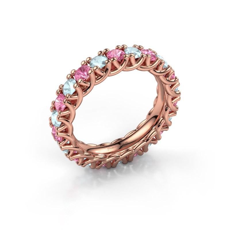 Ring Fenna 585 rosé goud roze saffier 3 mm