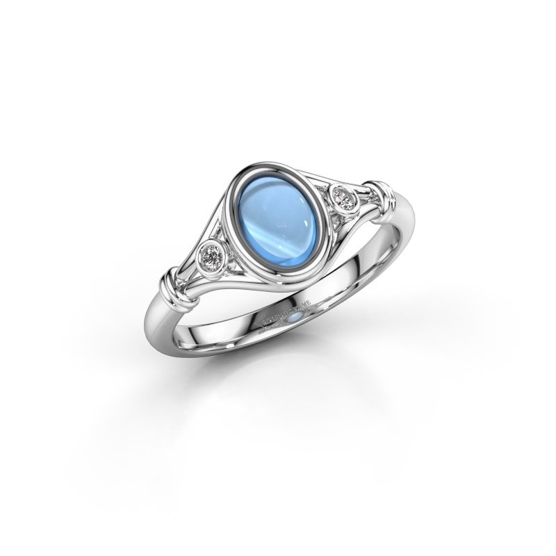 Ring Scarlett 585 witgoud blauw topaas 7x5 mm