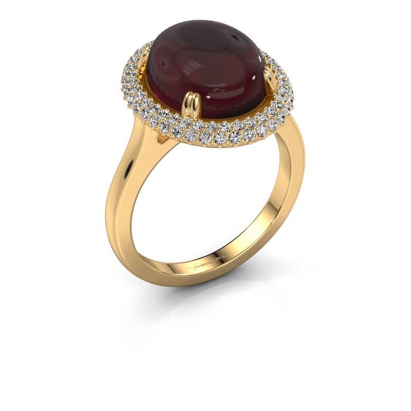 Ring Jayna 585 goud granaat 12x10 mm
