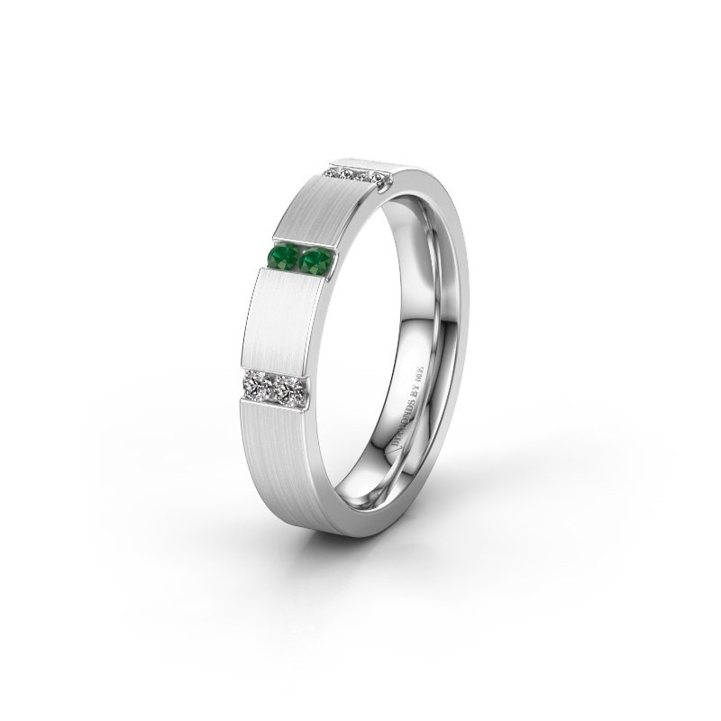Wedding ring WH2133L14BM 585 white gold emerald ±4x2.2 mm