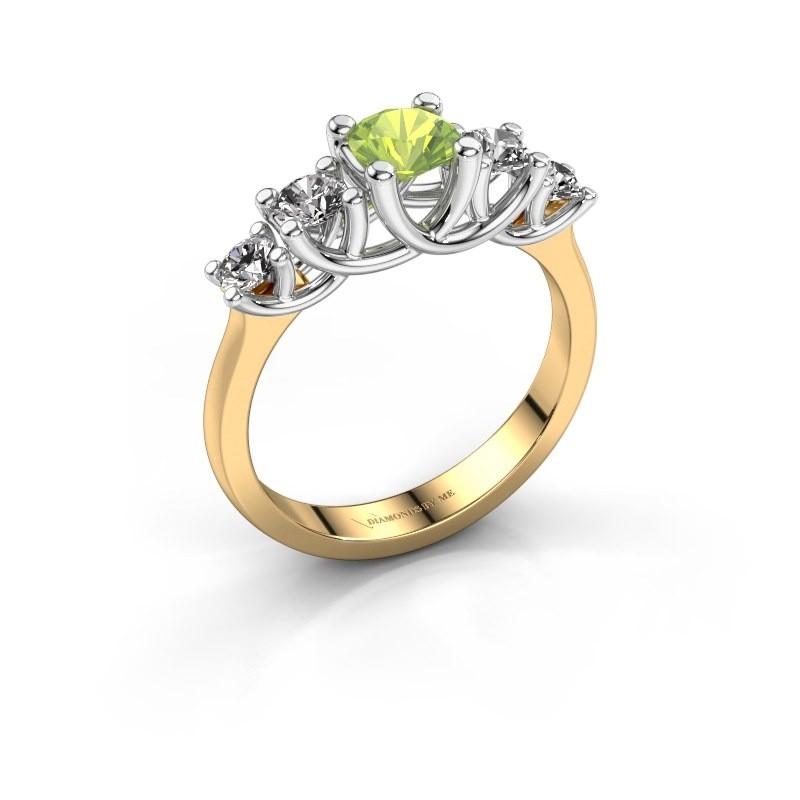 Engagement ring Jet 585 gold peridot 5 mm