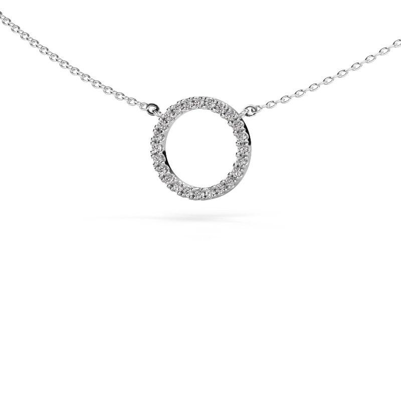 Hanger Circle 585 witgoud diamant 0.18 crt