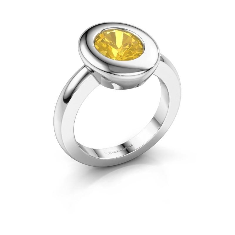 Ring Selene 1 925 zilver gele saffier 9x7 mm