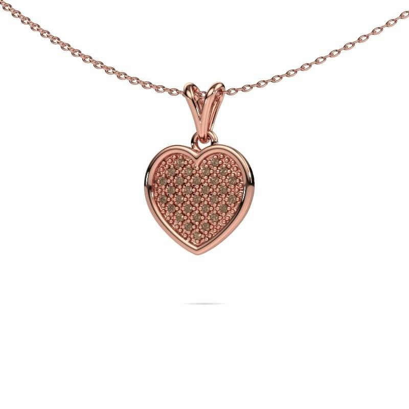 Halsketting Aline 375 rosé goud bruine diamant 0.15 crt