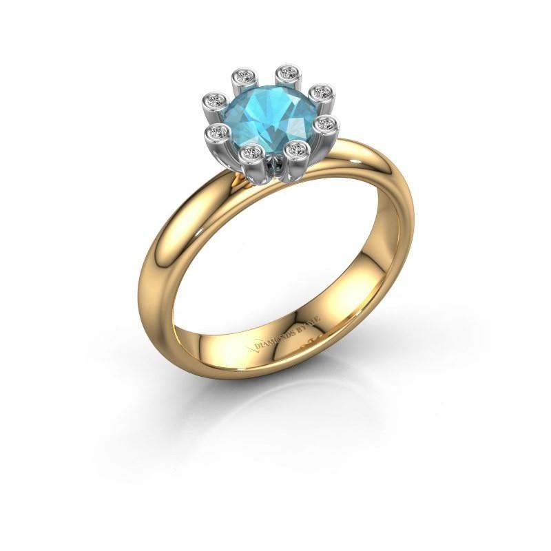 Stapelring Carola 3 585 goud blauw topaas 6 mm