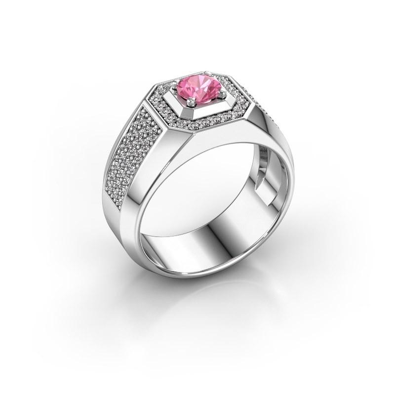 Heren ring Pavan 950 platina roze saffier 5 mm