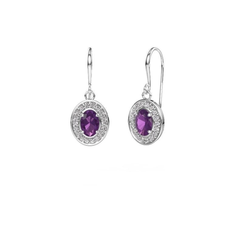 Drop earrings Layne 1 950 platinum amethyst 6.5x4.5 mm