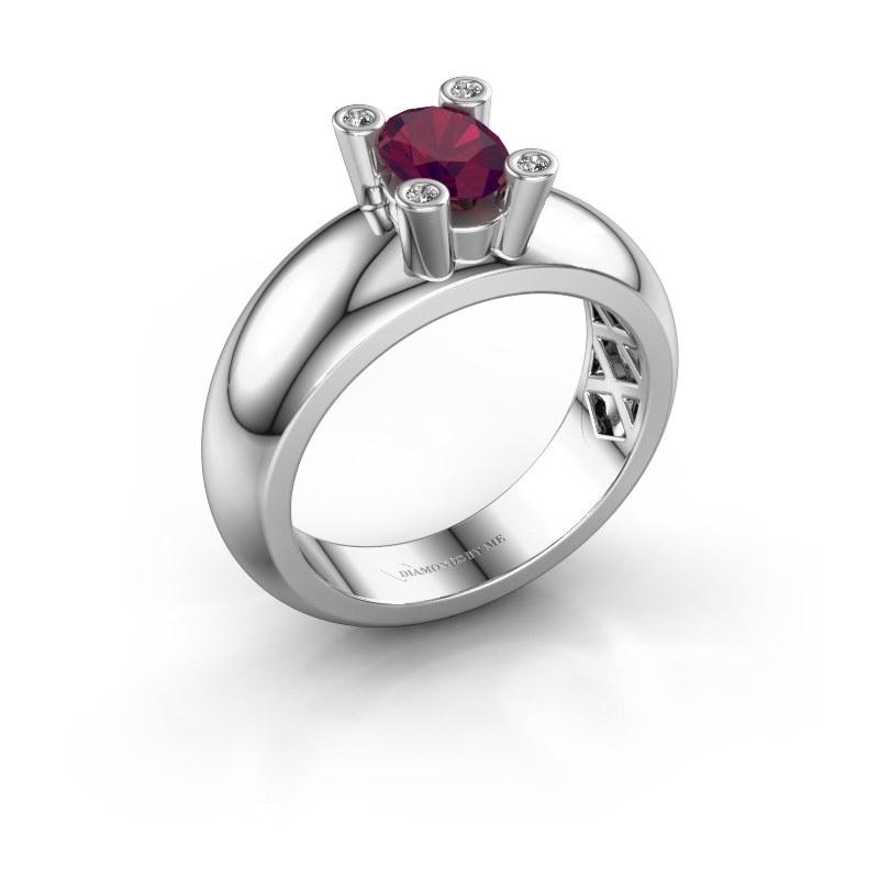 Ring Cornelia Oval 925 silver rhodolite 7x5 mm