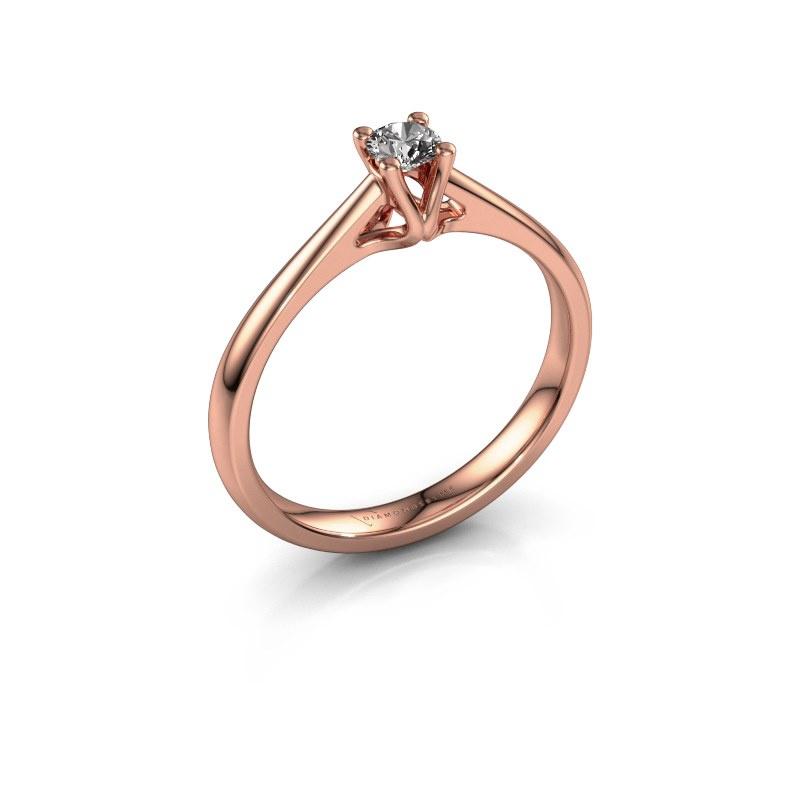 Bague de fiançailles Janna 1 585 or rose diamant synthétique 0.15 crt