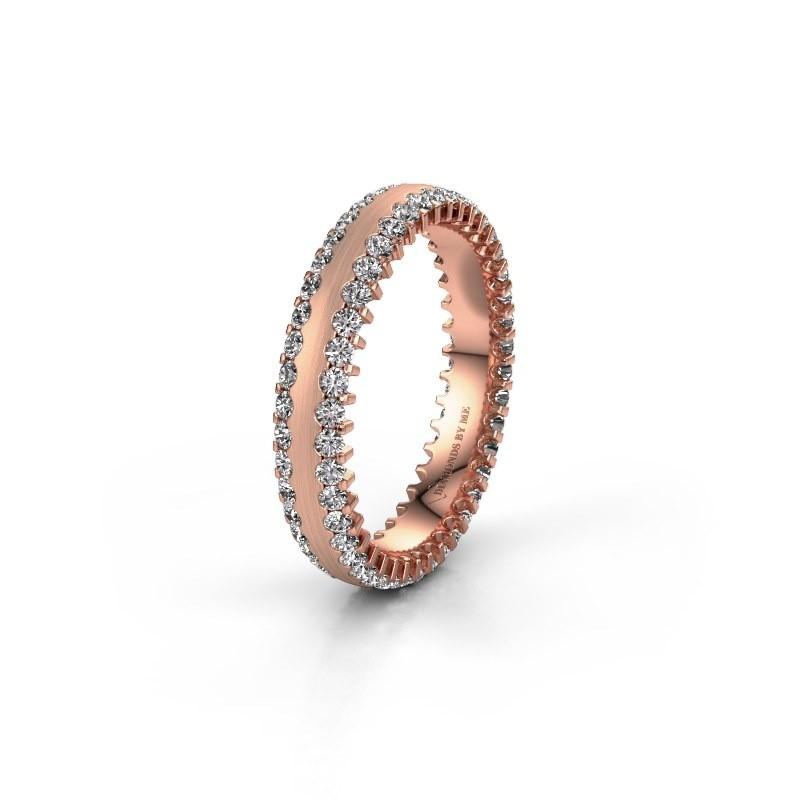 Trouwring WH2139L24B 375 rosé goud lab-grown diamant ±4x2 mm