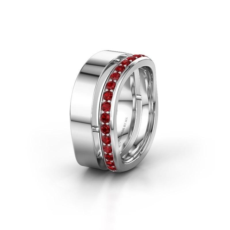Weddings ring WH6008L18BP 925 silver ruby ±0.39x0.08 in