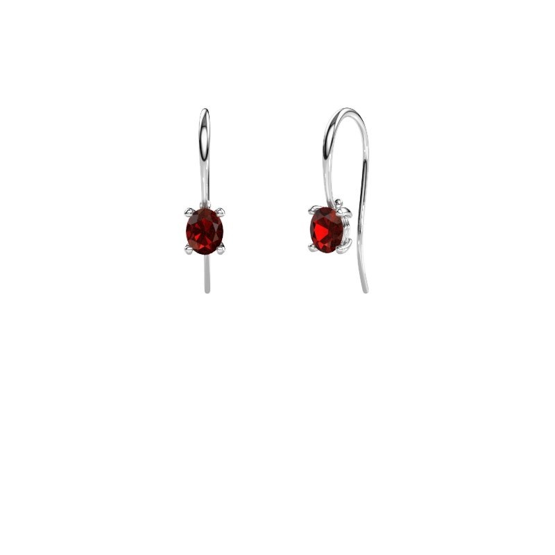 Drop earrings Cleo 950 platinum garnet 6x4 mm