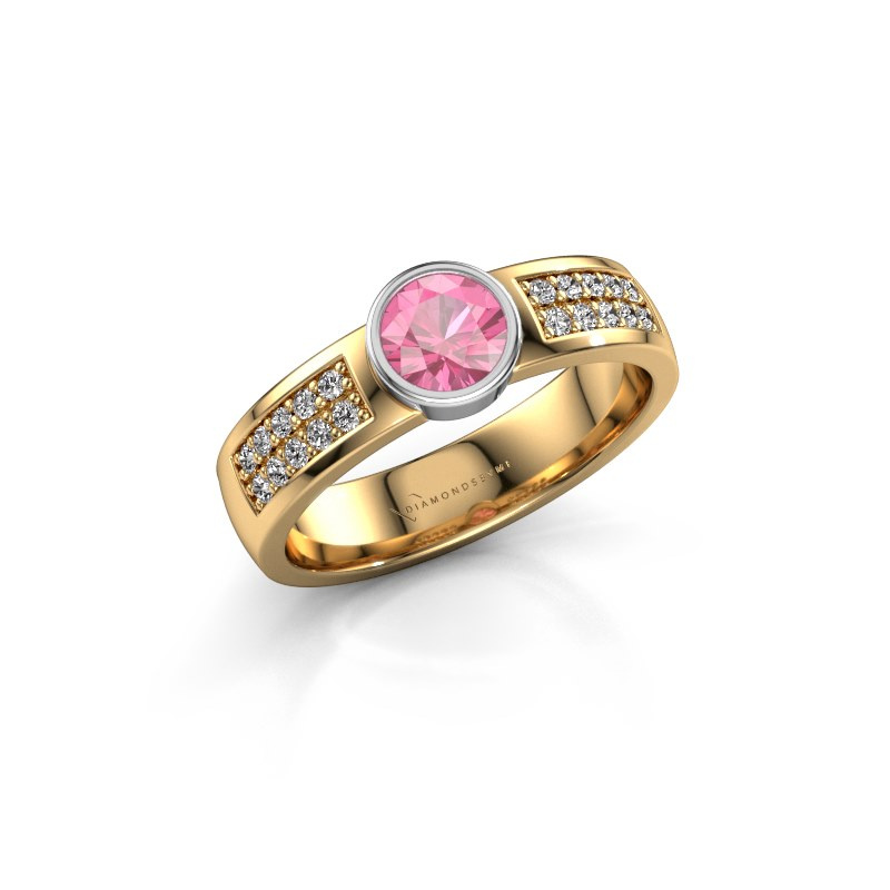 Engagement ring Ise 3 585 gold pink sapphire 4.7 mm