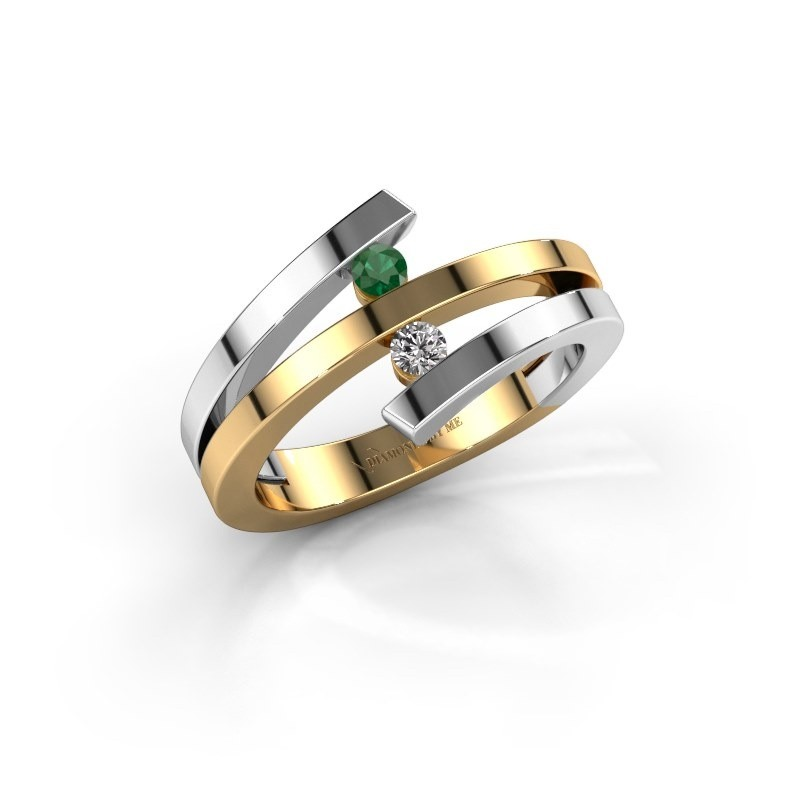 Ring Synthia 585 goud smaragd 2.5 mm