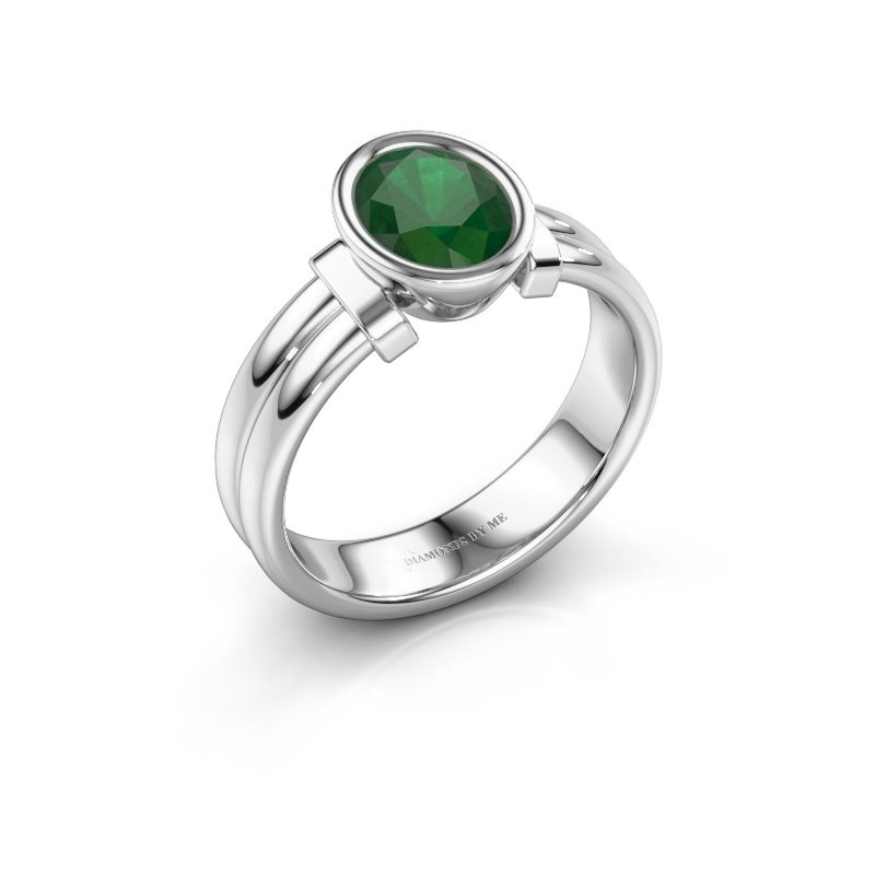 Ring Gerda 925 silver emerald 8x6 mm
