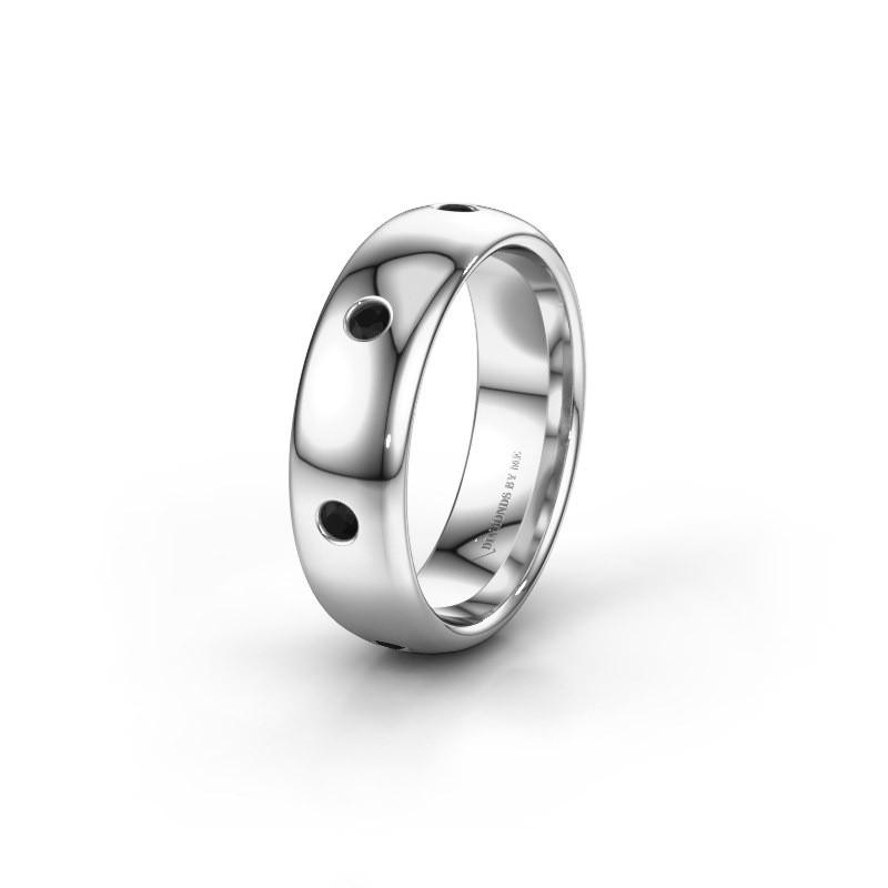 Wedding ring WH0105L36BP 925 silver black diamond ±0.24x0.08 in