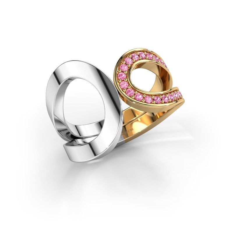 Ring Aniek 585 goud roze saffier 1.3 mm