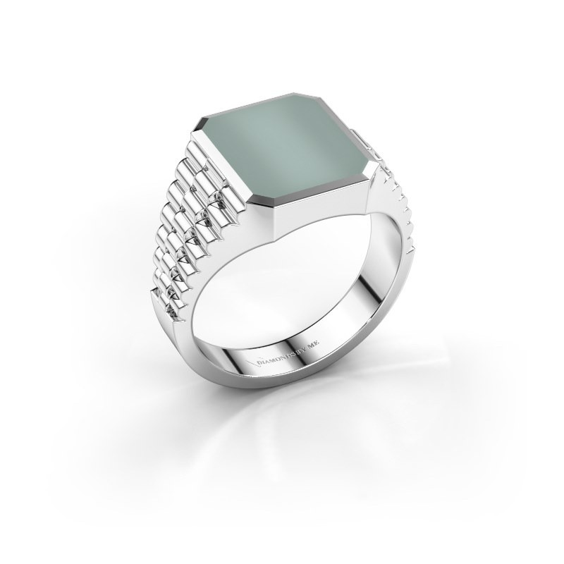 Rolex stijl ring Brent 2 585 witgoud groene lagensteen 12x10 mm