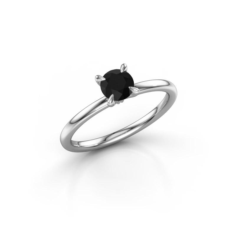 Verlobungsring Crystal RND 1 925 Silber Schwarz Diamant 0.60 crt
