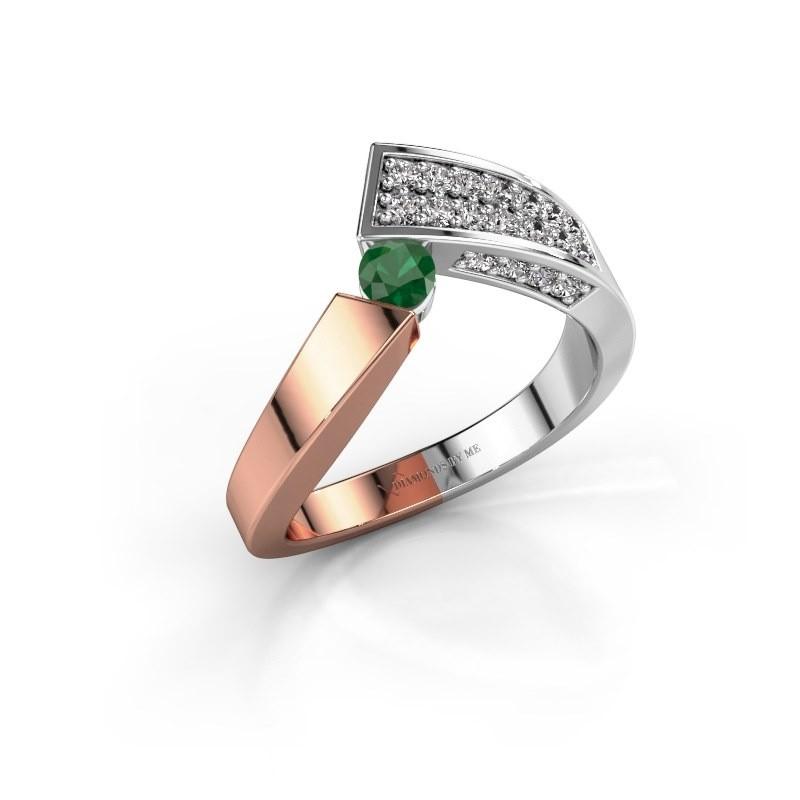 Ring Evie 585 Roségold Smaragd 3.4 mm