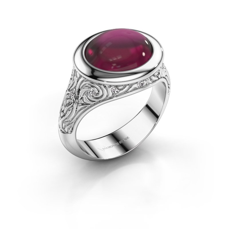 Ring Natacha 375 witgoud rhodoliet 12x10 mm