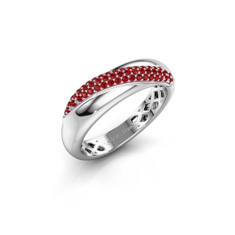 Ring Rosie 585 witgoud robijn 0.9 mm