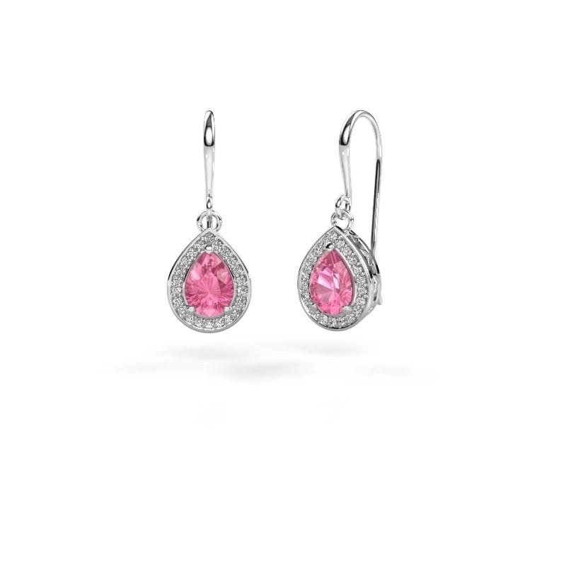 Drop earrings Beverlee 1 950 platinum pink sapphire 7x5 mm