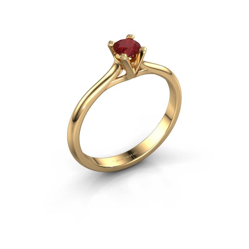 Verlovingsring Isa 1 585 goud robijn 4 mm