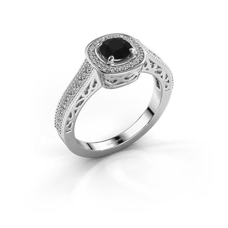 Verlovings ring Candi 950 platina zwarte diamant 0.875 crt