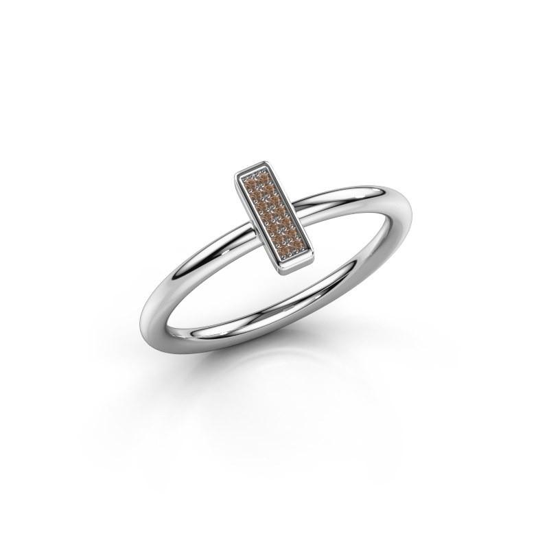 Ring Shape stripe small 585 witgoud bruine diamant 0.035 crt