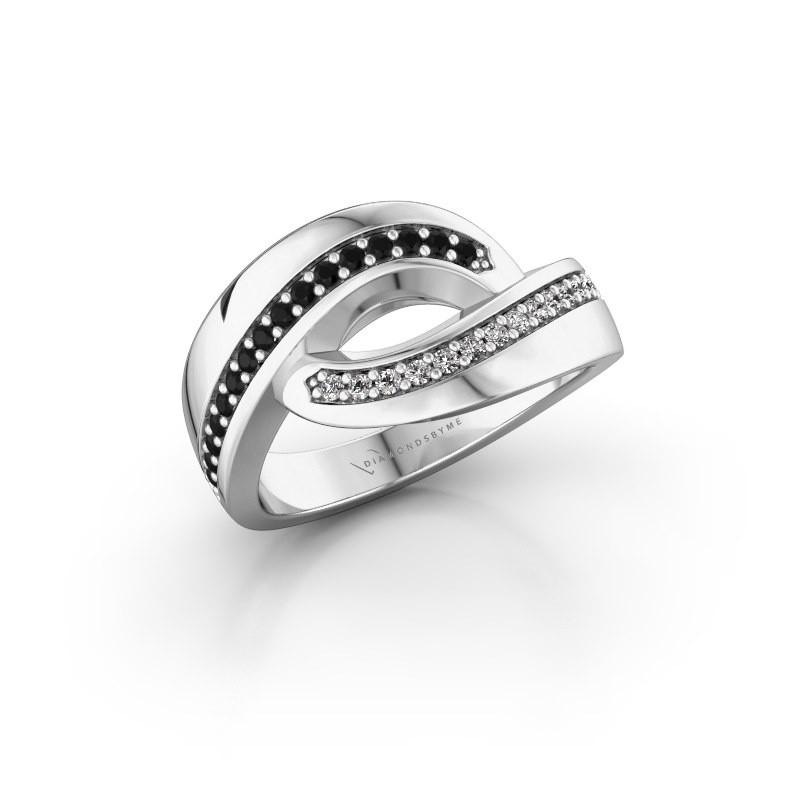 Ring Sharita 585 witgoud zwarte diamant 0.264 crt