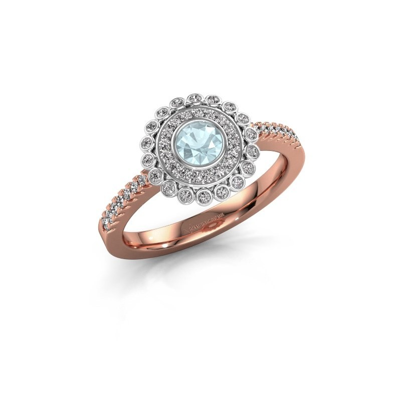 Bague de fiançailles Shanelle 585 or rose aigue-marine 4 mm