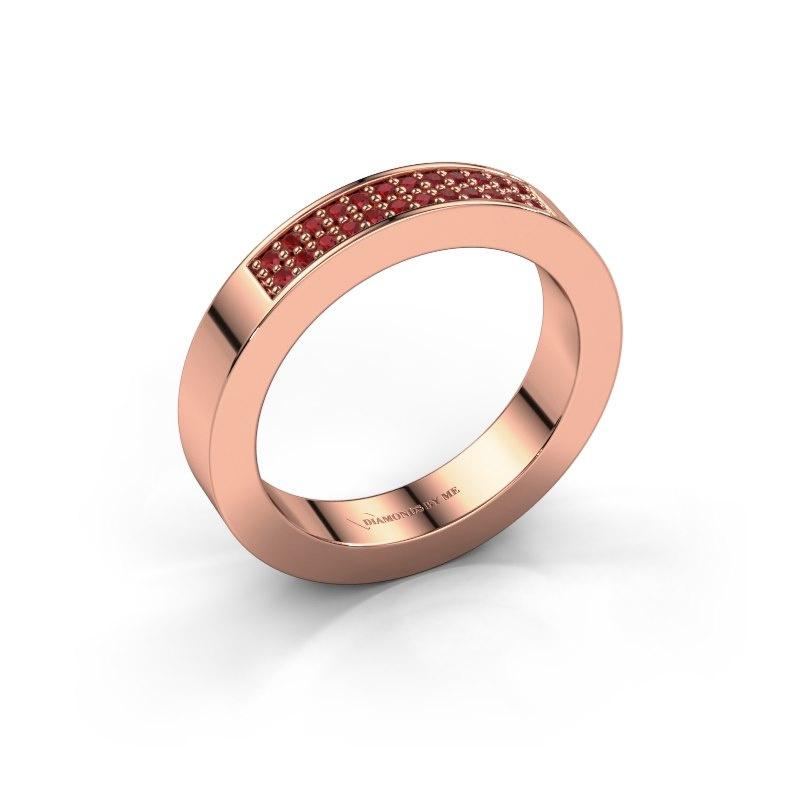 Aanschuifring Catharina 1 585 rosé goud robijn 1.1 mm