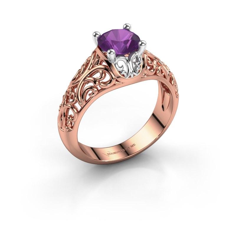 Ring Mirte 585 rosé goud amethist 6.5 mm