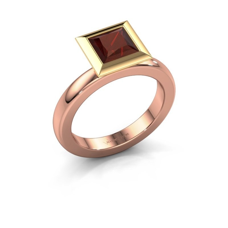Bague superposée Trudy Square 585 or rose grenat 6 mm