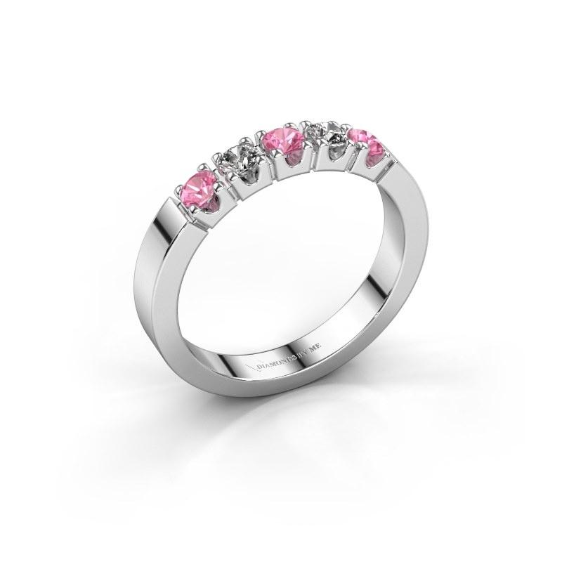 Engagement ring Dana 5 585 white gold pink sapphire 3 mm