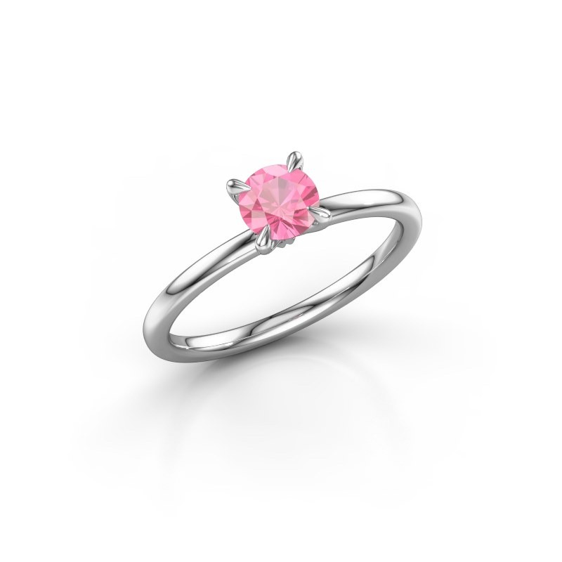 Verlovingsring Crystal RND 1 585 witgoud roze saffier 5 mm